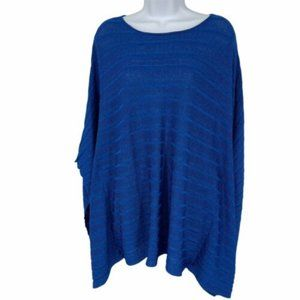 Coldwater Creek bat wing blue metallic sweater